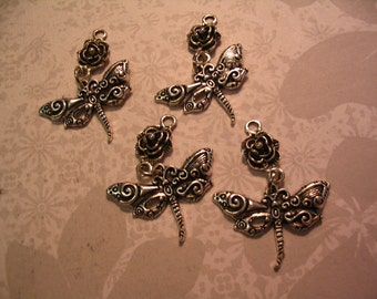 4 Dragonfly Charms with Rose Connector Jewelry or Craft Supplies