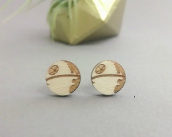 Star Wars Second Death Star Earrings - Laser Engraved on Alder Wood - Hypoallergenic Titanium Post Earrings