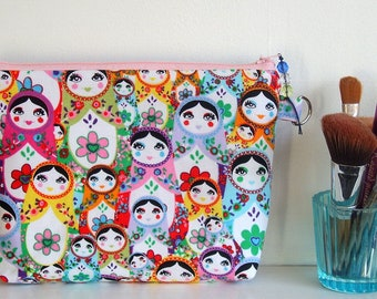 Rare Russian doll fabric cosmetic pouch zipper makeup bag european boutique