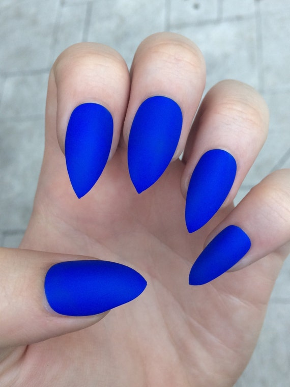 Stiletto nails, fake nails, matte nails, blue press on nails from ...