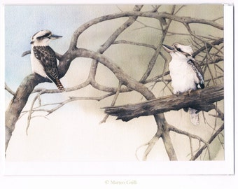 Kookaburra Pair Greeting Card, Watercolor Illustration, Australia, Wildlife