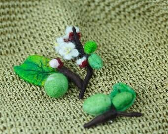 apricot, flower, broach, wool, felted broach, branch, leaf.
