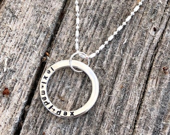 Circle Name Necklace - Personalized - Silver - Mother's Necklace