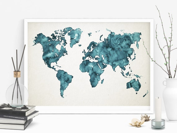 Teal world map printable watercolor map art teal art gumiabroncs Images