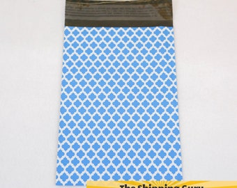 100 6x9 Blue Quatrefoil Poly Mailers with OPTIONAL Labels