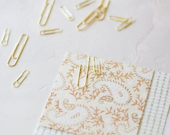 Gold Metal Paper Clips - Small / Large - 25 pc