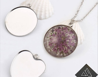 50pcs Thin Metal Fit Heart Round Glass Cabochon Cameo Necklace Pendant Base Tray Bezel Blank Diy Making Jewelry Finding