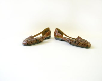 Womens Brown Leather Flats / Size 9