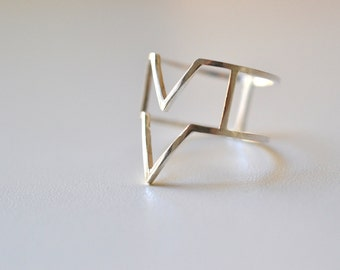 READY TO SHIP Size 7. Hyper Mountains  - silver geometric ring