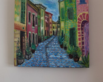 Alcudia Town colourful painting