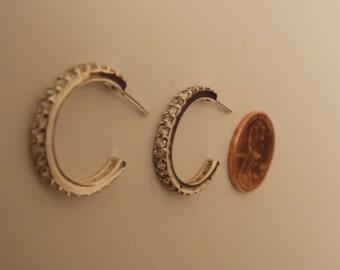 Vintage Sterling Silver Rhinestone Hoop Earrings - Inventory Clearance
