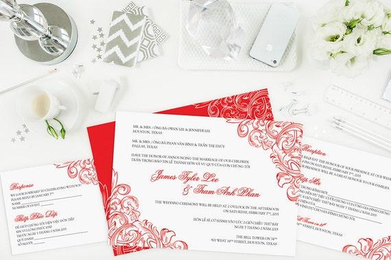 Bilingual Wedding Invitations: Bilingual Vietnamese Wedding Invitation Set Invitation