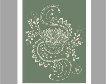 Flower Wall Art Green, Digital Illustration