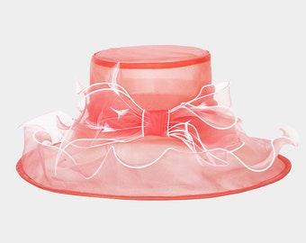 New 2018 Peach Red White Derby Church Hat