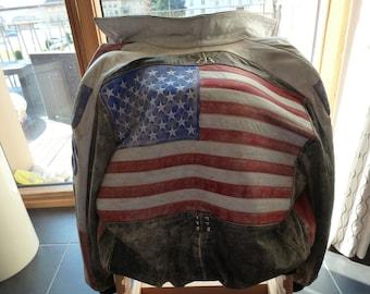 vintage American flag leather jacket