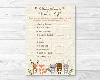 Woodland Forest Animal Price is Right Baby Shower Game / Woodland Baby Shower / Forest Animal / PRINTABLE INSTANT DOWNLOAD A187