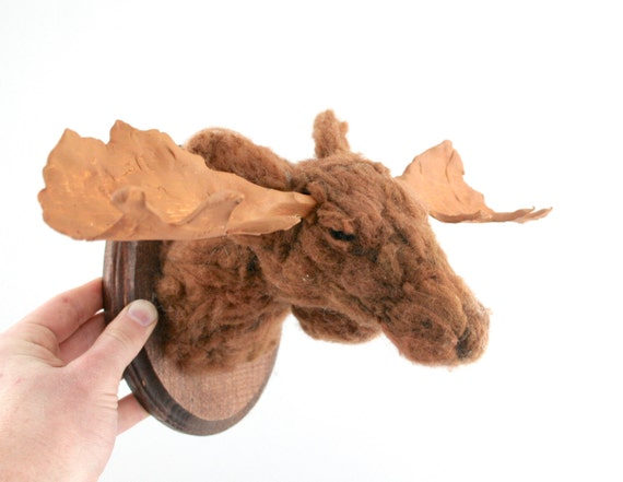 Felt Faux Taxidermy Moose (Alces alces) Wall Mount
