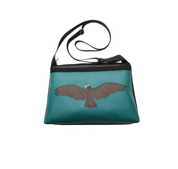 Vulture, turquoise vinyl, medium crossbody, vegan leather, zipper top