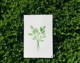 """Watercolor painting of leaves 4""""x 6"""""""