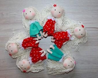 6 Tilda dolls minature dolls handmade fabric dolls rag dolls fabric dolls nursery decor doll collection tilda birthday gift doll cloth doll