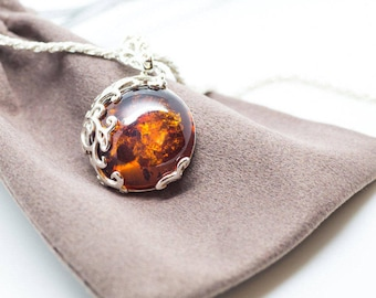 Round Amber Necklace, Amber Pendant, Amber Silver Pendant, Amber Necklace, Real Amber Jewellery, Filigree Pendant, Gemstone Pendant, For Her
