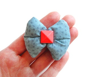 Polka Dot Teal Puffy Bow Hair Clip