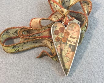 Fine Bird Collage Heart Pendant Necklace