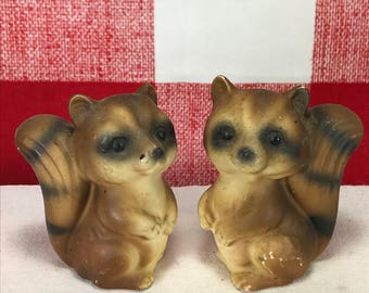 Vintage Raccoon Salt and Peppers