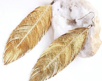 Feather Earrings Gold, Feather Earrings, Leather Earrings, Gold Earrings, Bridal Earrings, Large Earrings, Bridesmaid Gift, Wedding Earrings