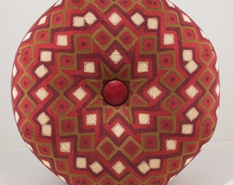 Double Diamond Red and Burgundy Pouf Ottoman- Pouf- Footstool- Octagonal Ottoman- by beckyzimmdesign