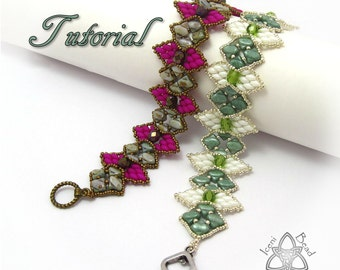 Tutorial Silky Snowdrop Bracelet, Silky Beads and SuperDuos pdf Pattern, Instructions English Only,
