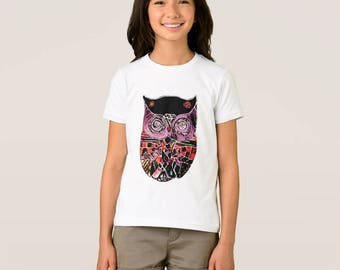 Cute Primitive Owl Mosaic Little Girl's Child T-shirt