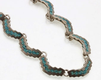 Vintage Sterling Silver Turquoise Inlay Necklace Made in Mexico Choker Estate