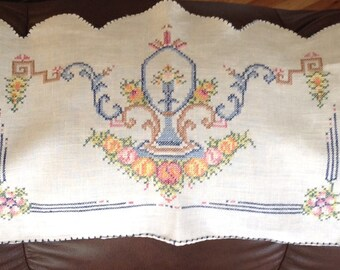 Antimacassar Chair Cover, Cross Stitch, Vintage