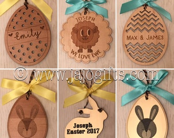 Easter twiggy hanging decorations bunny egg personalised