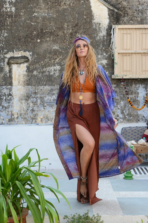 TIEDYE BOHEMIAN KAFTAN - Full length Kimono - Beach Cover Up - Summer - Wedding - Peasant dress - Vintage dress - Festival Fashion - Bespoke