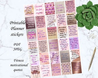 Fitness motivational quotes stickers printable fitness planner stickers workout stickers erin condren planner supplies weight loss stickers
