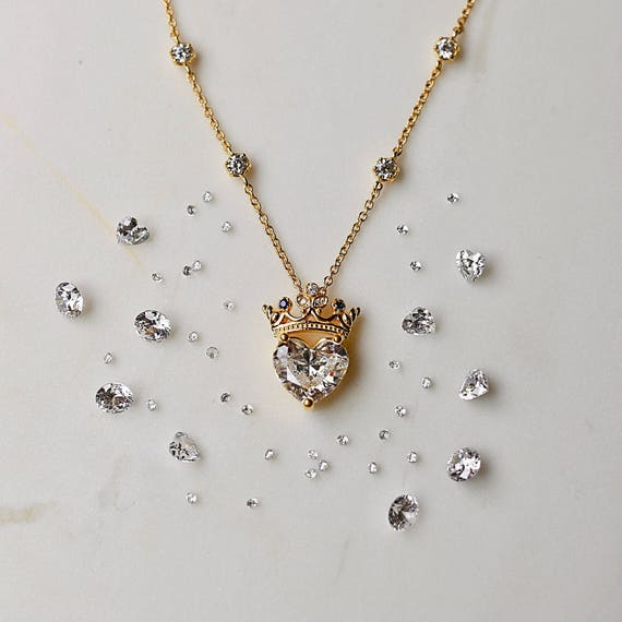 Crown heart necklace queen necklace pendant necklace aloadofball Images
