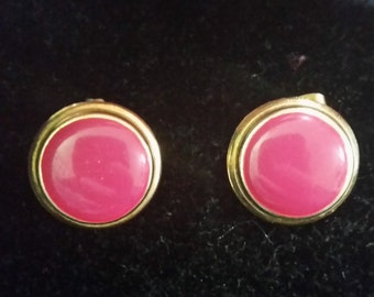 Pink Enamel Button Earrings - pierced vintage