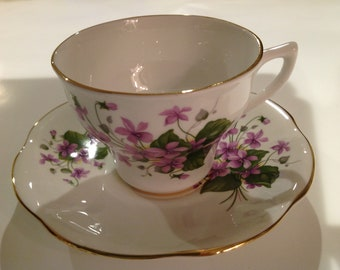 Rosina Bone China Tea Cup and Saucer, Violet Pattern