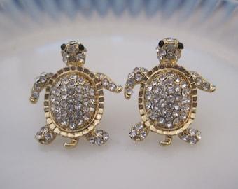 Gold Turtle Earrings - Stud Earrings - Rhinestone Turtle Earrings - Beach Earrings - Animal Jewelry