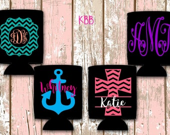 Monogram Can Cooler, Personalized Can Cooler, Custom Can Cooler