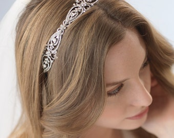 Antique Wedding Headband, Vintage Bridal Headband, Rhinestone Headpiece, Vintage Headband, Bride Headband, Bridal Hair Accessory ~TI-3215