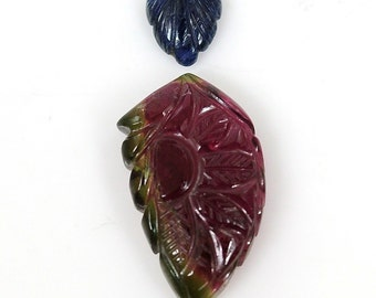 14.20cts 100% Natural Tourmaline,Blue Sapphire Gemstone Leaf Shape Hand Carved 7*9,13*23mm For Pendant 101/8