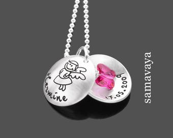 Children necklace 925 Silver necklace with engraving enchanted guardian angel with engraving