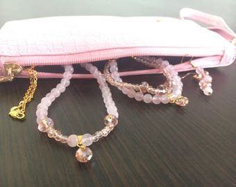 Rose quartz Jewerly set with purse