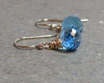 Swiss Blue Topaz Earrings Petite December Birthstone Gold Earrings Gift for Girlfriend