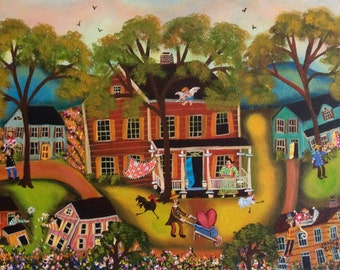 Primitive Valentine folk art painting original on canvas by self-taught artist Sharon Eyres