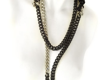 Super Long Black & Silver Chain Necklace, Multistrand Cascade Bicolor,  Dark Chic, Avantgarde, Modern Industrial, Fancy, Upper East Side