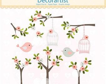 ON SALE birds clipart, tree clipart, flowers clipart, Digital clipart, birdcage clipart, invitations, scrapbook